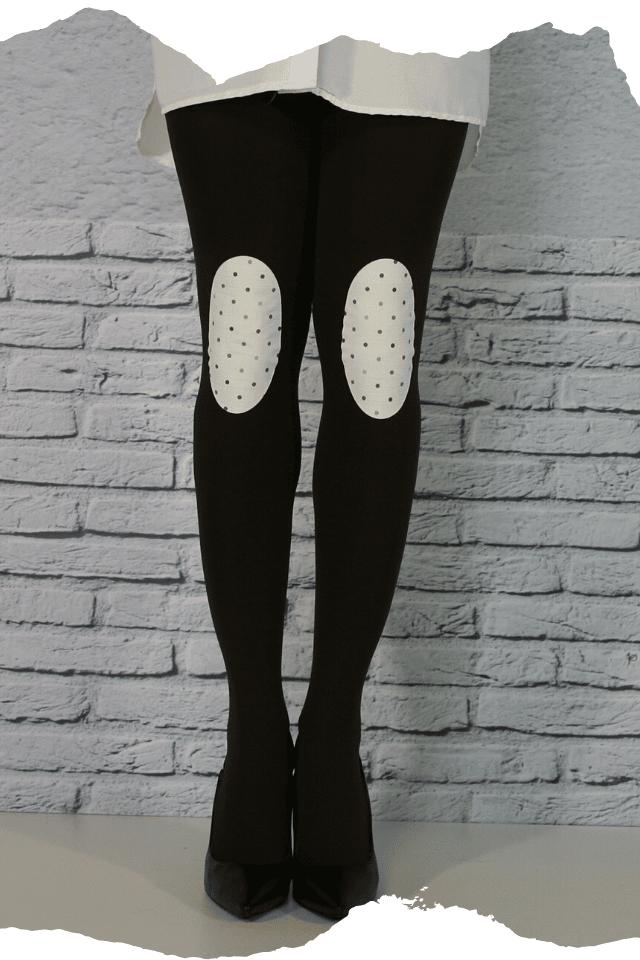 Pantis tupidos negros con rodilleras de lunares o topos de colores, colección retro y modelo tops