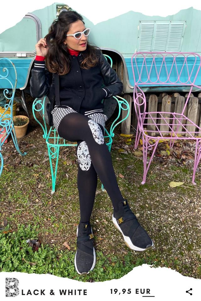 Pantis tupidos negros con rodilleras de flores negras y blancas, black & white, colección palmers. Leggins y pantys de diseño.