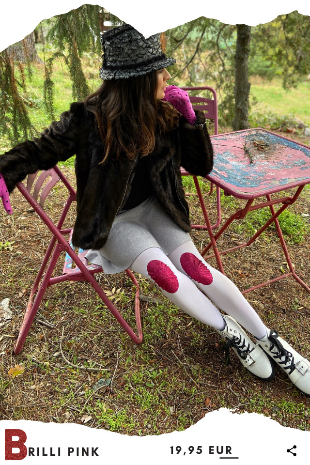 Pantis tupidos blancos con rodilleras de purpurina brilli-brilli de color fucsia, retro