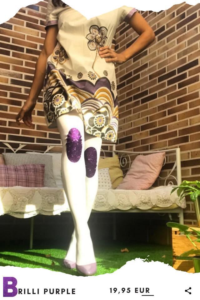 Pantis tupidos blancos con rodilleras de purpurina brilli-brilli de color purple, colección retro modelo purple