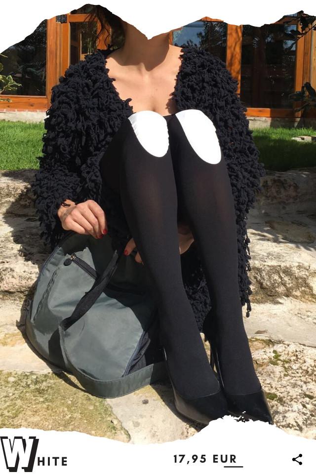 Pantis tupidos negros con rodilleras de color blanco, colección basic colors diseño white