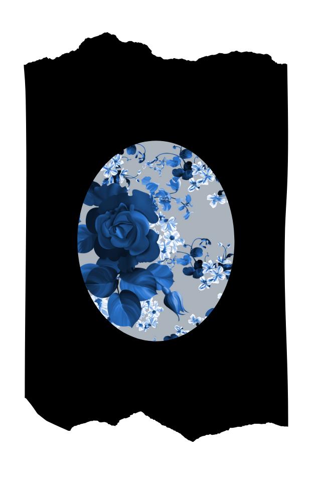 Pantis de fantasía tupidos negros con rodilleras de flores azules, colección palmers diseño blue roses