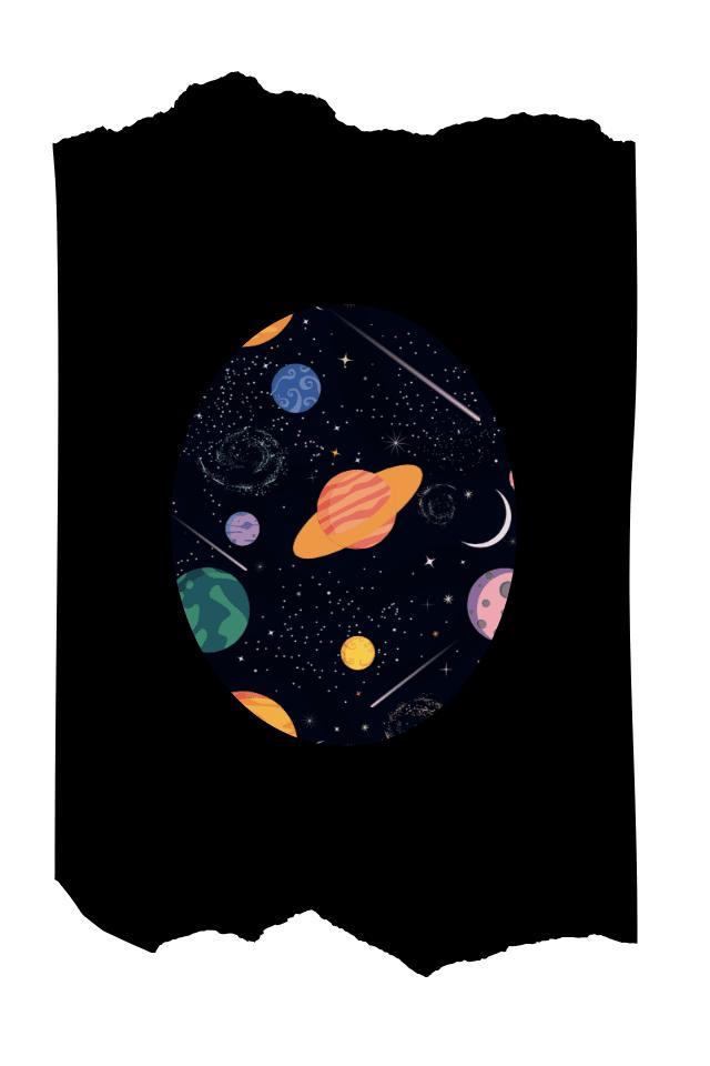 Pantis tupidos negros con rodilleras planetas, cosmos, colección retro