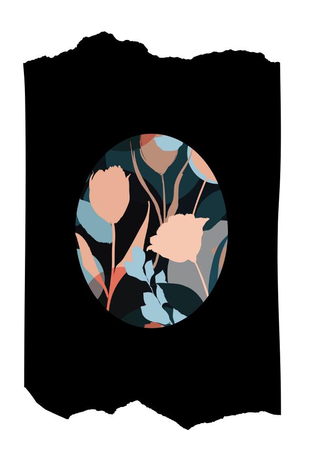 Pantis tupidos negros con rodilleras de flores de tulipanes azules y beigs, colección palmers, modelo tulip