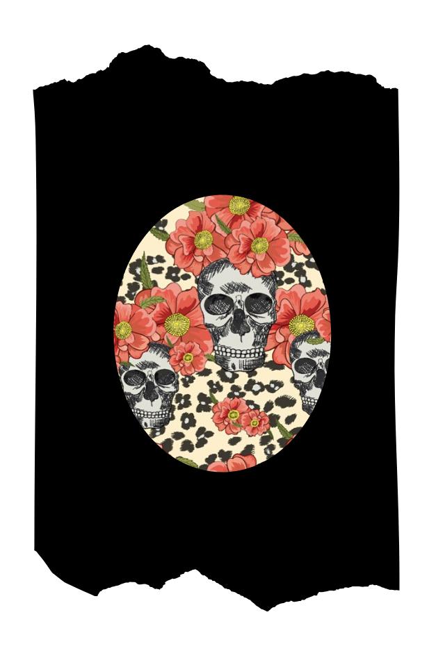 Pantis negros tupidos de fantasía con rodilleras de calaveras y animal print, colección animal print, modelo skulls