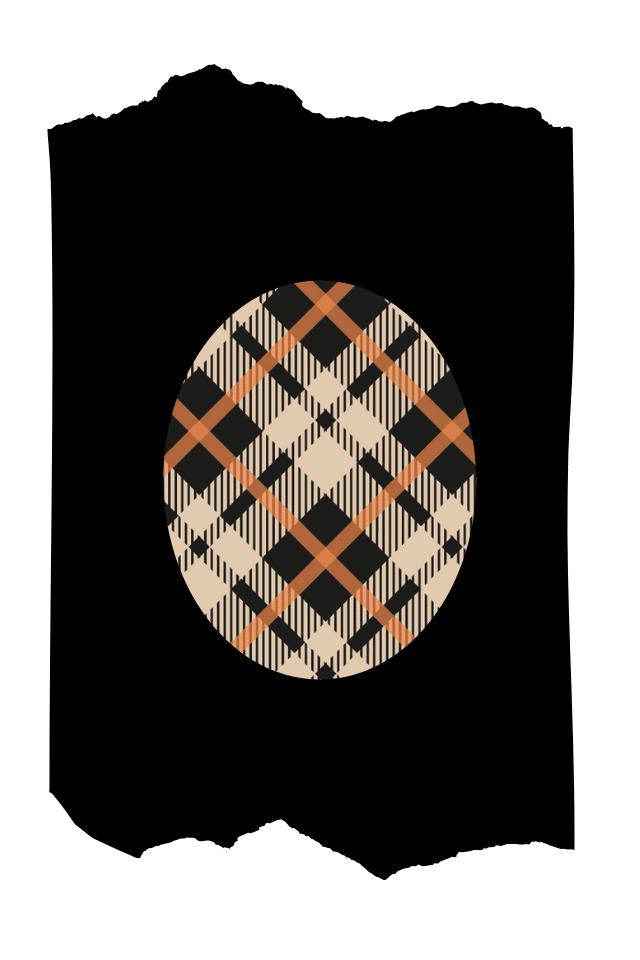 Pantis tupidos de fantasía de color negro, con rodilleras de cuadros vintage en colores beigs y naranjas, colección scotland diseño vintage