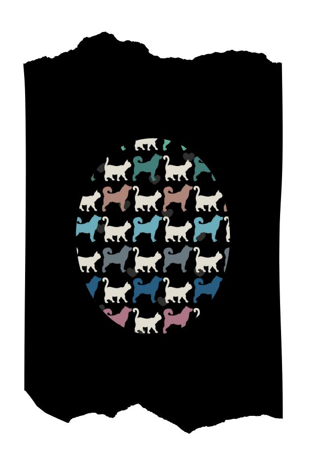 Pantis negros tupidos de fantasía con rodilleras de perros y gatos, colección animal print, modelo dogs & cats