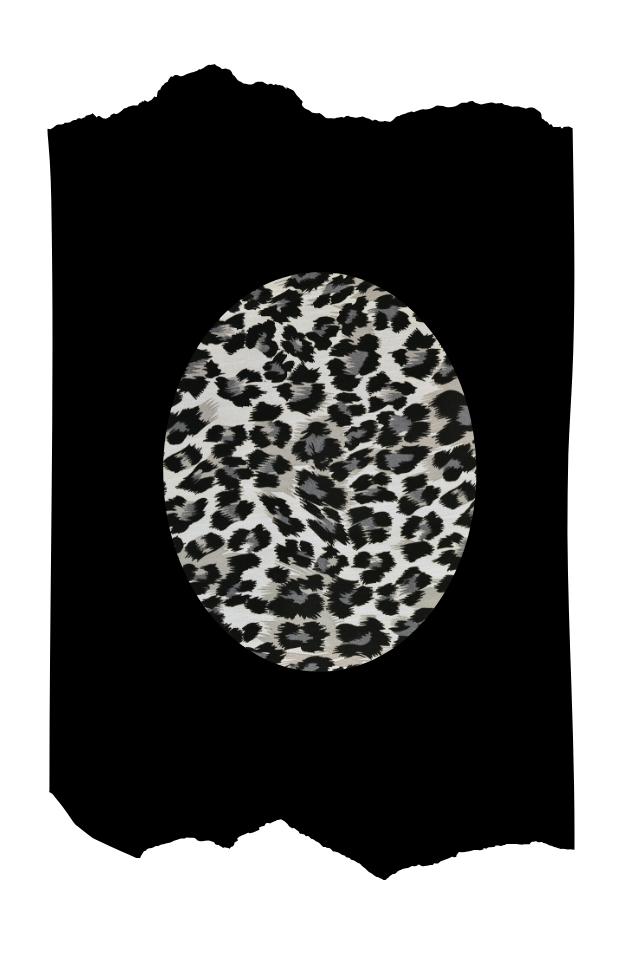 Pantis negros tupidos con rodilleras de leopardo grises y negras, animal print