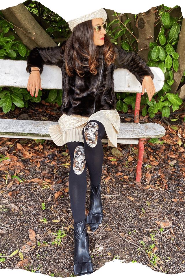 Pantis tupidos negros con rodilleras de gente unida de la colección retro y el panty se llama people