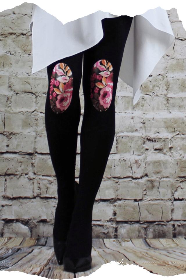 Pantis tupidos negros con rodilleras de flores rosas, aquarel, colección palmers