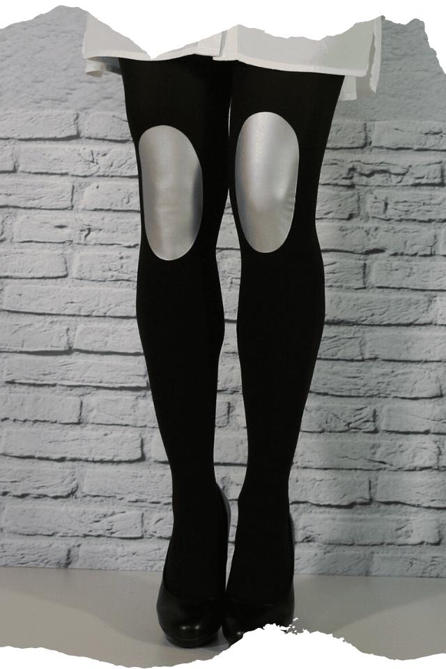 Pantis tupidos negros con rodilleras de color plata, colección basic colors diseño silver